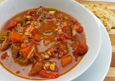 Protein Pumped Beef Barley Soup